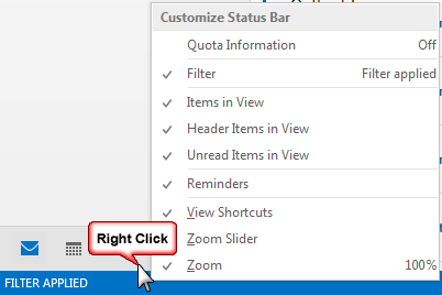 right click to choose status bar options