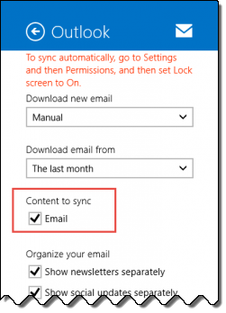 Disable email sync