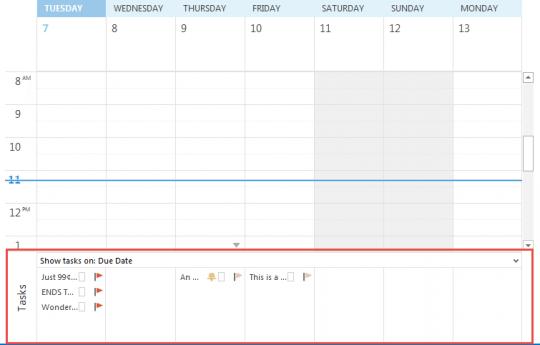 Task list on calendar