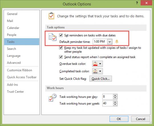 Default Task reminder time in Outlook