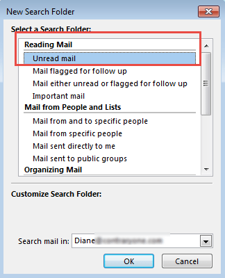 Create an unread search folder