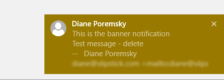 Outlook's new message notification