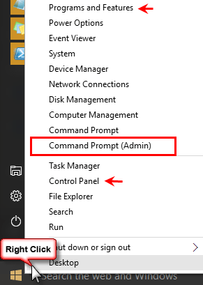 Right click on Start to locate commands