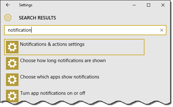 search for notification