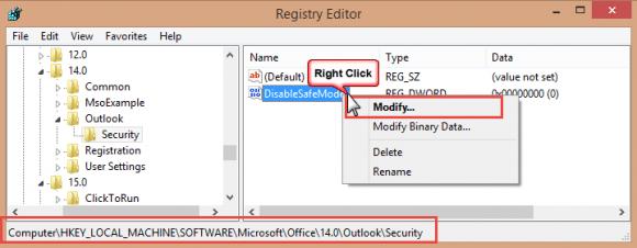 Set the registry key