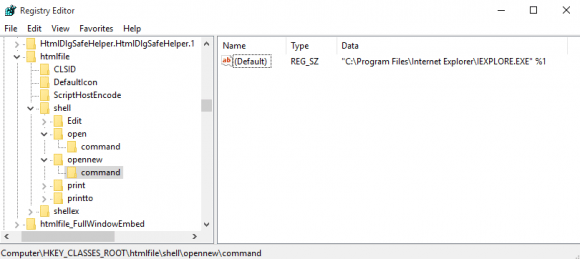 Edit the registry to add the opennew reg key