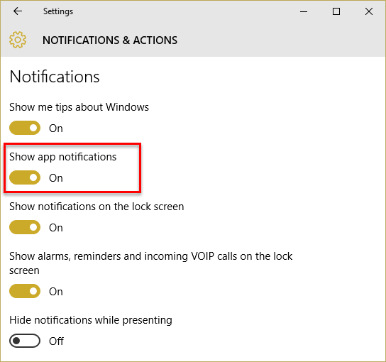 show app notifications