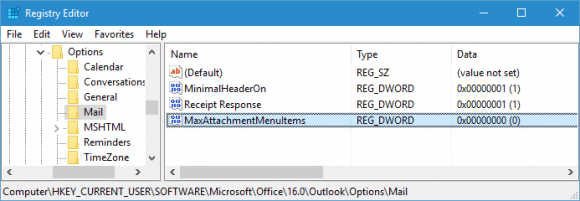 Add the MaxAttachmentMenuItems value to the registry