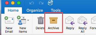 Archive button in Outlook 2016 for Mac