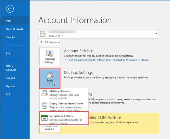 Archive options in IMAP and POP accounts