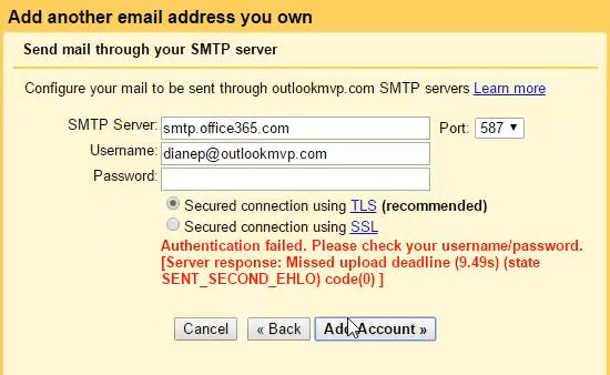 offiCe 365 gmail error