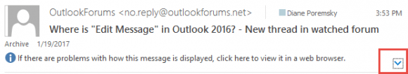 Outlook's compact header