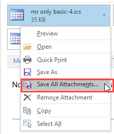 Save attachments default set in the registry