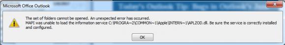 icloud errror in Outlook 2007