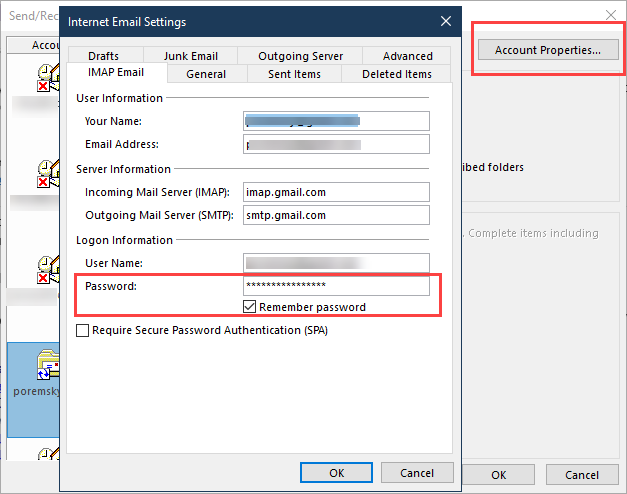 Change your password in Outlook 2016