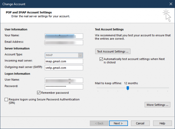 change account dialog