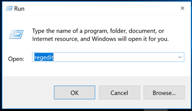 open the registry editor