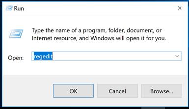 open the registry editor