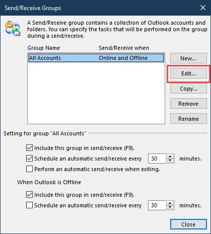 change send receive settings