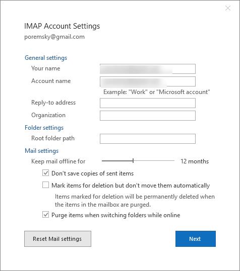 Change your password in Outlook 2016
