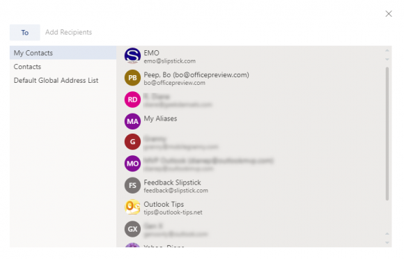 new address book sort order in outlook on the web