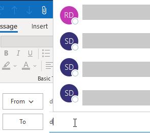 Outlook Autocomplete Bug