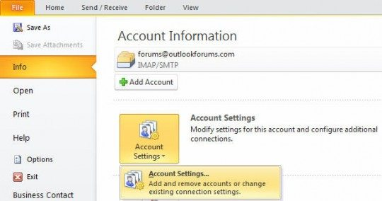 Accounts setting dialog in 2010 and 2013