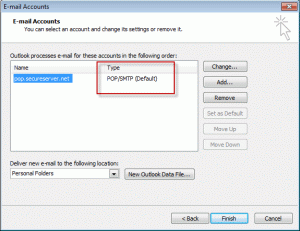 Account type in Outlook 2003