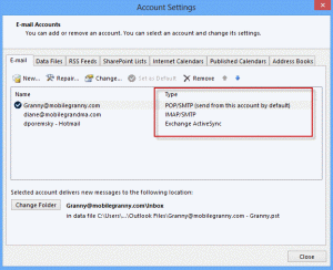 Account settings dialog in Outlook 2013