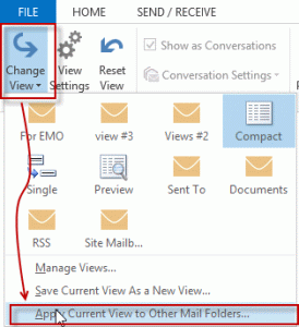 Apply current view to other mail folders
