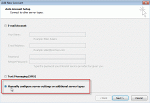 Choose Manually configure server setting in the Auto Account Dialog