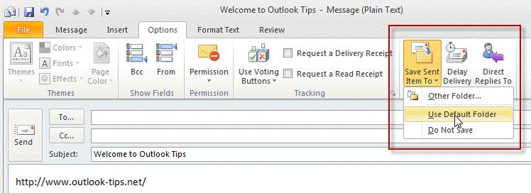 Choose the sent folder before sending