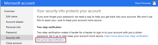 Enable Outlook.com's two-step auth