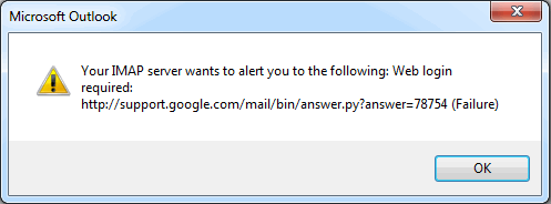 Gmail error dialog in Outlook 2013