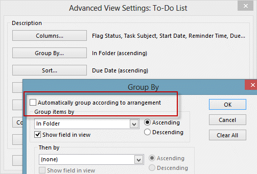 Group by arrangement in Outlook view
