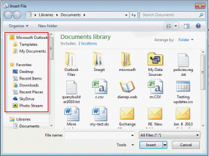 Insert File dialog with Favorites and Places