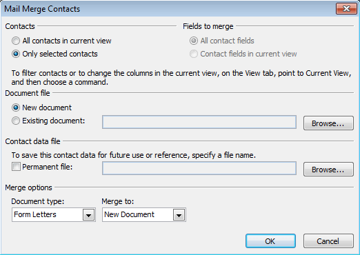 Start the merge using the mail merge dialog