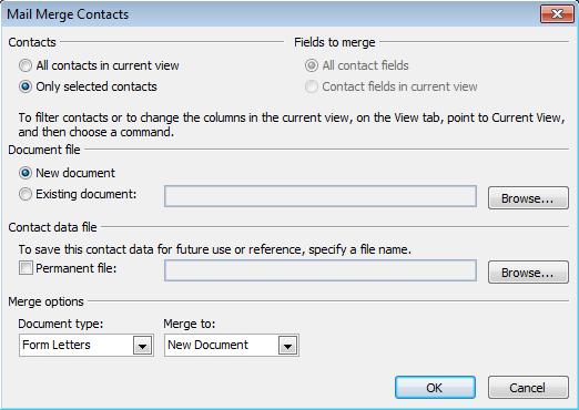 Start the merge using the mail merge dialog