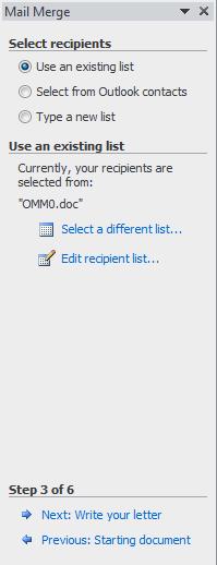 Word mail merge wizard