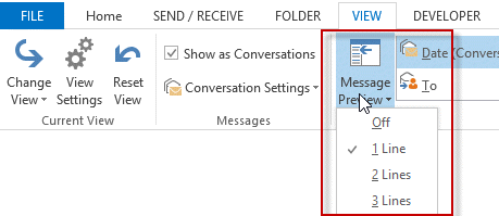 Message preview settings in Outlook 2013