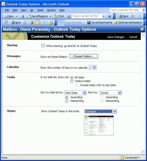 Outlook today screen