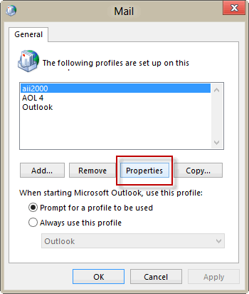 Select the profile and clikc Properties