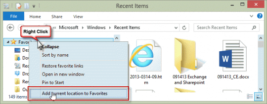 Add Recent Documents to Favorites