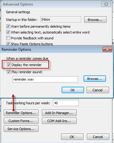 how to add reminder in outlook 2007