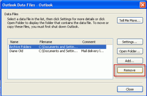 Remove an pst from the profile in Outlook 2003 and older