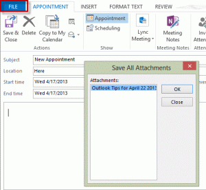 Save attachments dialog