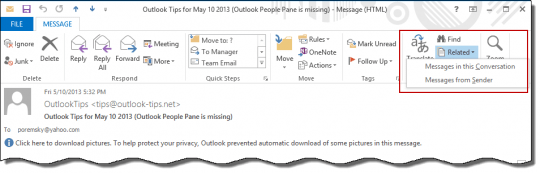 Use Find Related to locate messages