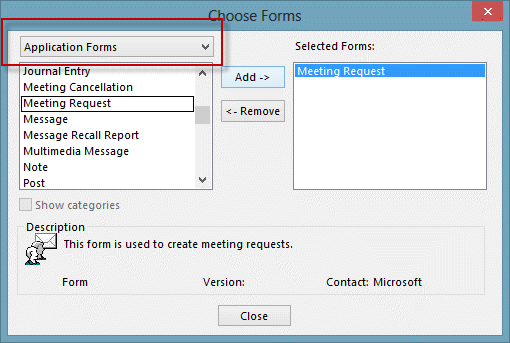 Select application forms