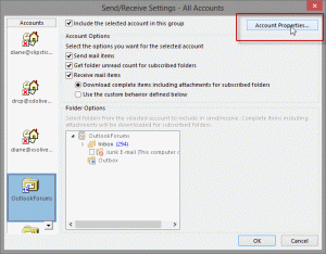 Send and receive dialog in Outlook