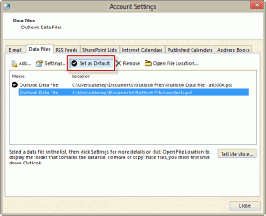 Set the selected pst as the default, in Outlook 2007 and up